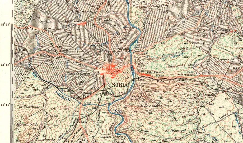 Cartografía del municipio de Soria. Véase su prolongación sur junto al Duero.
