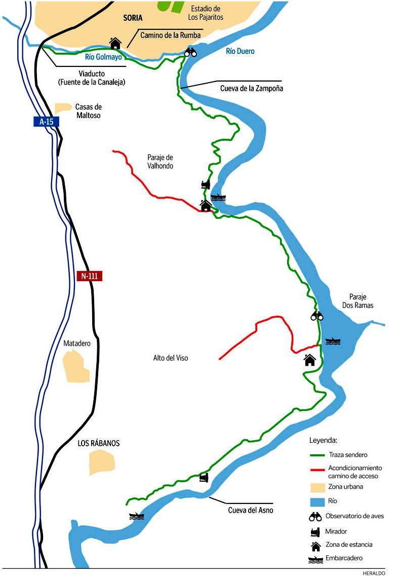 Mapa informativo de la propuesta para 3ª fase recuperación márgenes del Duero en Soria (fuente: Heraldo de Soria)