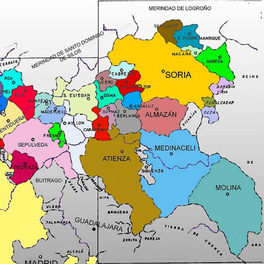 Soria y su Tierra en mapa de Comunidades de Villa y Tierra