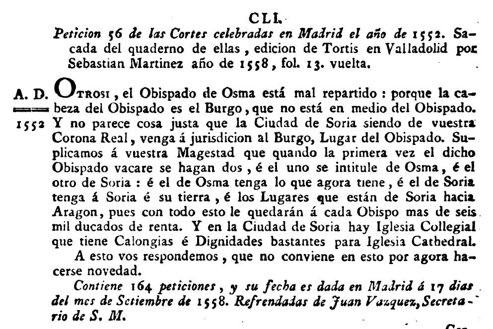 1552 peticion de diocesis para Soria