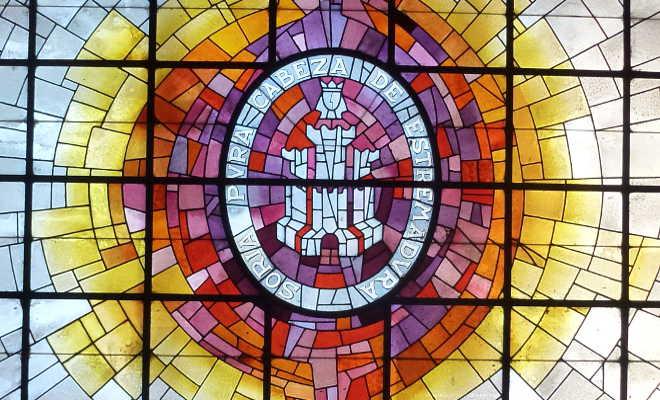 Escudo de Soria en claraboya del Ayuntamiento