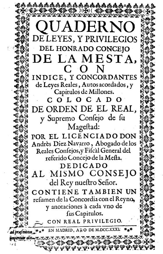 Leyes y privilegios de la Mesta -Diez Navarro