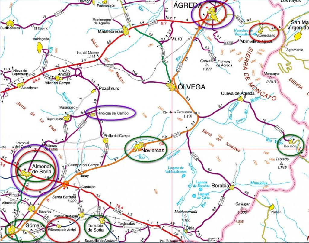 En círculo rojo, posesiones documentadas templarias; en morado, enclaves vinculados a Miguel Muñoz de Finojosa, y en verde los relacionados con G.A. Bécquer.