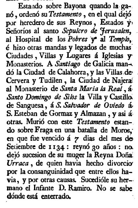 Testamento del Batallador en Monarquia I de Salazar