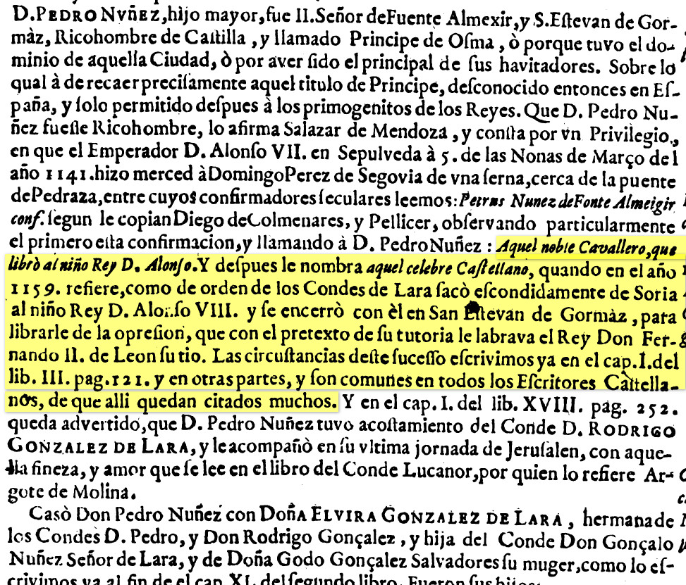Pedro Nuñez de Fuentearmegil en Historia de la Casa de Lara