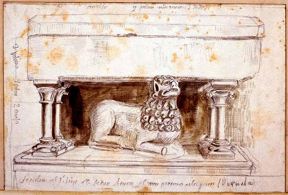 Sepulcro de un hijo de Pedro Atarés en el monasterio de Veruela según la tradición (dibujo BNE)