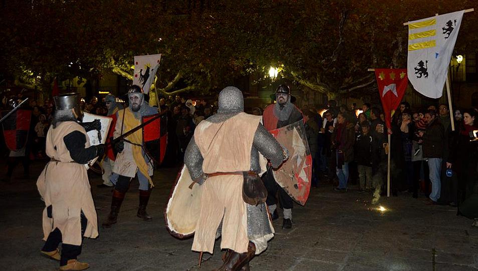 Templarios luchando en Soria por Oria Dauria en Festival de Animas 2015