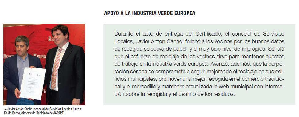 Reciclaje en Soria y apoyo a industria verde europea