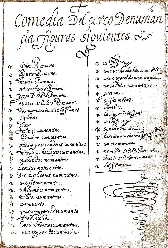 Folio inicial de la Comedia del çerco de Numancia, manuscrito 15.000 de la Biblioteca Nacional de España