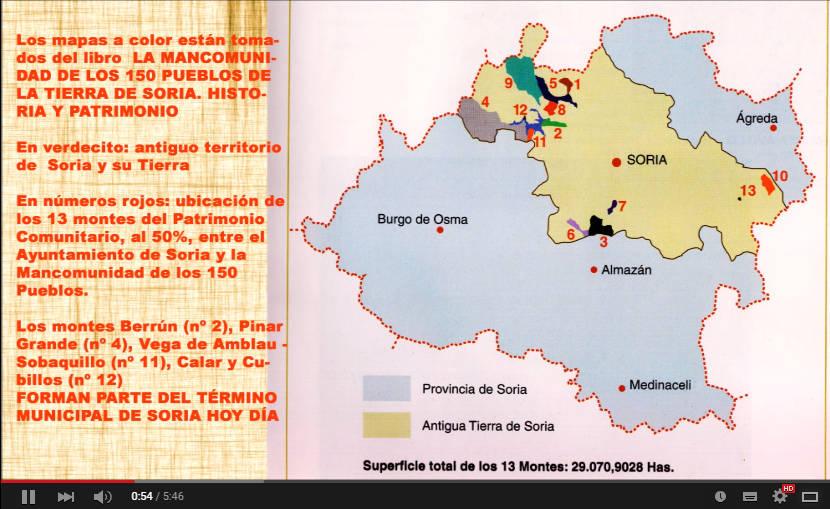 mapa montes de Soria y Mancomunidad 150 Pueblos
