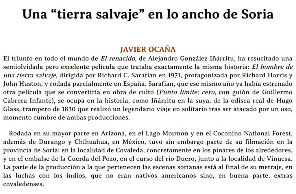 El Renacido en una tierra salvaje, y Soria_ por Javier Ocaña