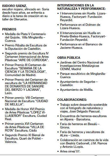 Exposiciones de Isidoro Saenz en forja