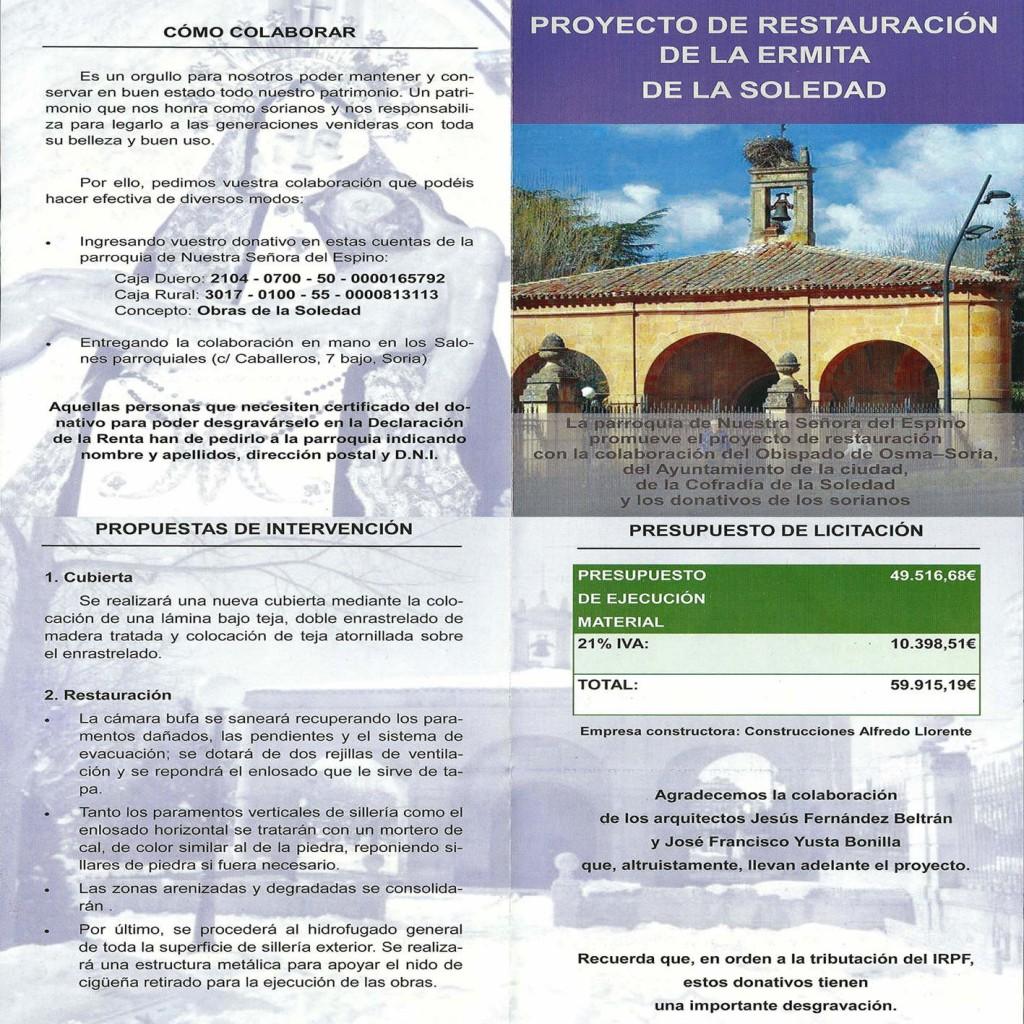 obras en ermita de La Soledad de Soria 2016