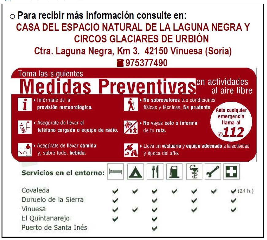 Laguna Negra, medidas preventivas