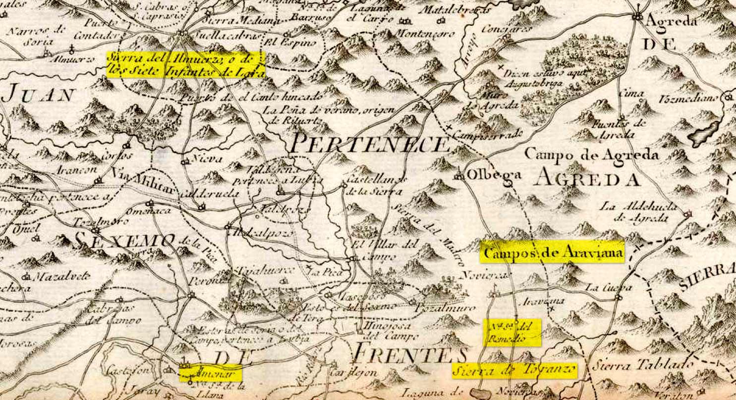 Ruta-Siete-Infantes-de-Lara-enmapa-de-Tomas-Lopez-en-Soria