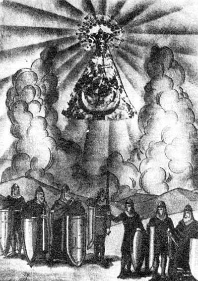 Infantes de Lara con Virgen del Almuerzo en estampa religiosa