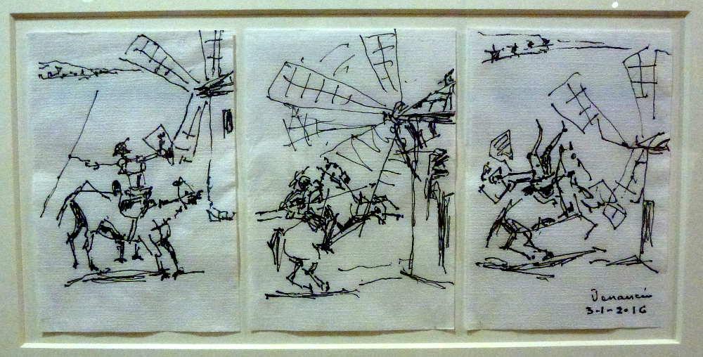 Quijote y los Molinos en servilletas de Venancio Blanco