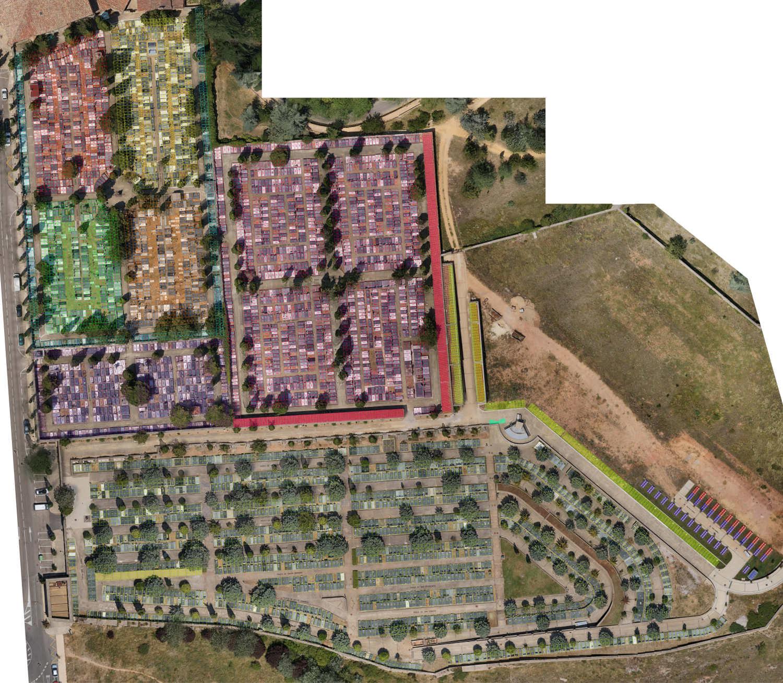 Vista aérea zonificada del Cementerio Municipal de Soria